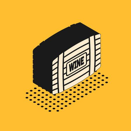 Isometric Wooden barrel for wine icon isolated on yellow background. Vector Illustration