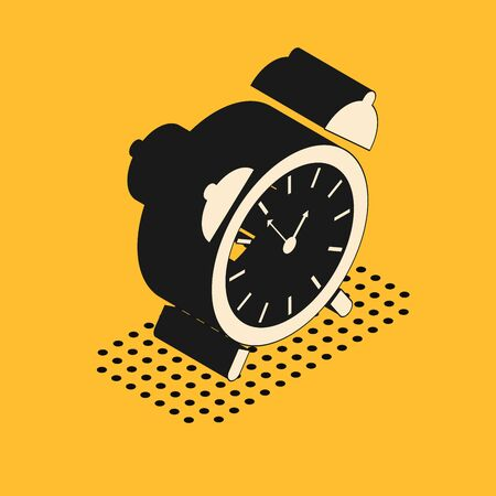 Isometric Alarm clock icon isolated on yellow background. Wake up, get up concept. Time sign. Vector Illustration  イラスト・ベクター素材