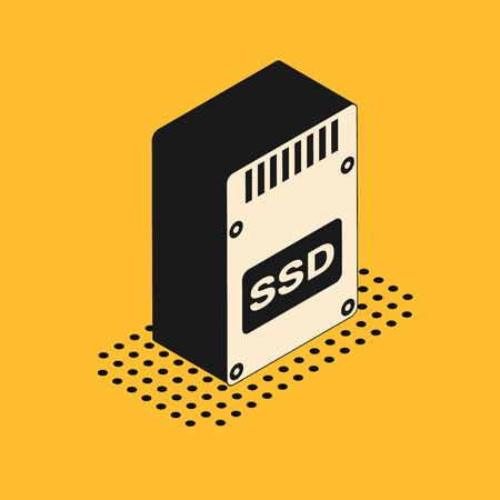 Isometric SSD card icon isolated on yellow background. Solid state drive sign. Storage disk symbol. Vector Illustration