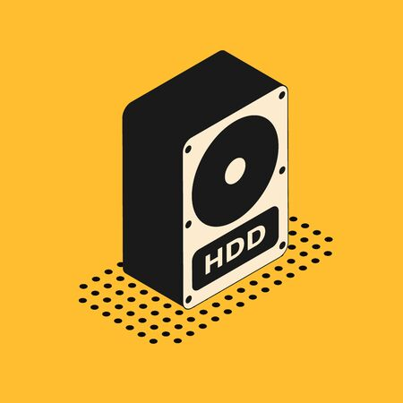 Isometric Hard disk drive HDD icon isolated on yellow background. Vector Illustration