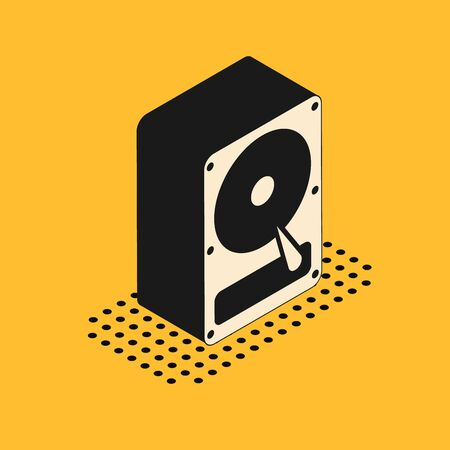 Isometric Hard disk drive HDD icon isolated on yellow background. Vector Illustration Standard-Bild - 132181867