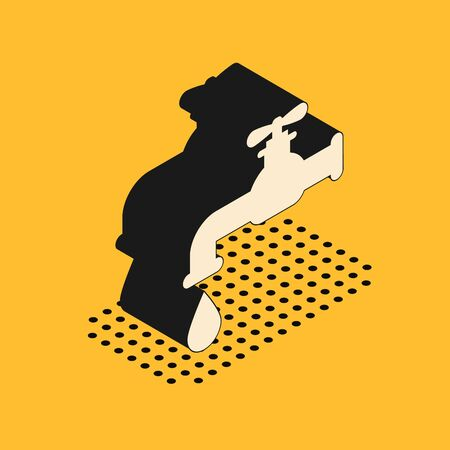 Isometric Water tap with a falling water drop icon isolated on yellow background. Vector Illustration  イラスト・ベクター素材