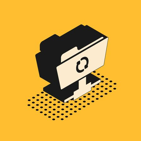 Isometric FTP sync refresh icon isolated on yellow background. Software update, transfer protocol, router, teamwork tool management, copy process. Vector Illustration  イラスト・ベクター素材