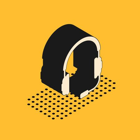 Isometric Headphones with microphone icon isolated on yellow background. Concept object for listening to music, service, communication and operator. Vector Illustration