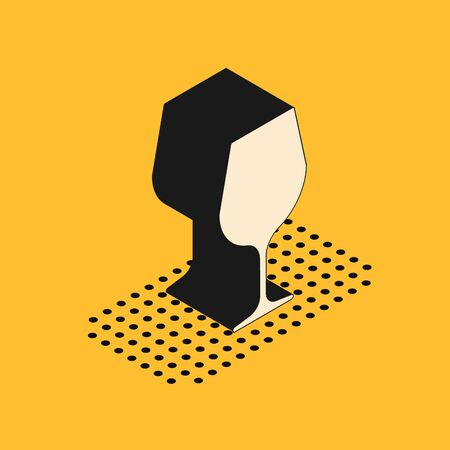 Isometric Wine glass icon isolated on yellow background. Wineglass sign. Vector Illustration