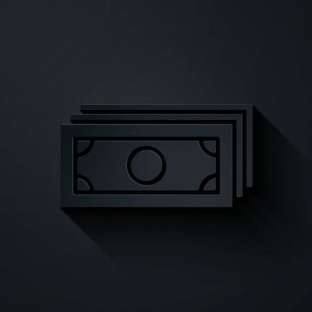 Paper cut Briefcase icon isolated on black background. Business case sign. Business portfolio. Paper art style. Vector Illustration Ilustração