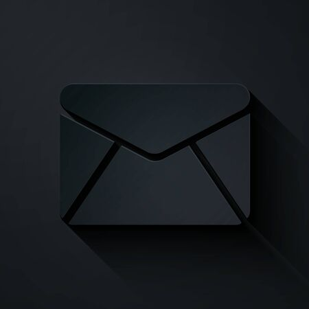 Paper cut Envelope icon isolated on black background. Email message letter symbol. Paper art style. Vector Illustration