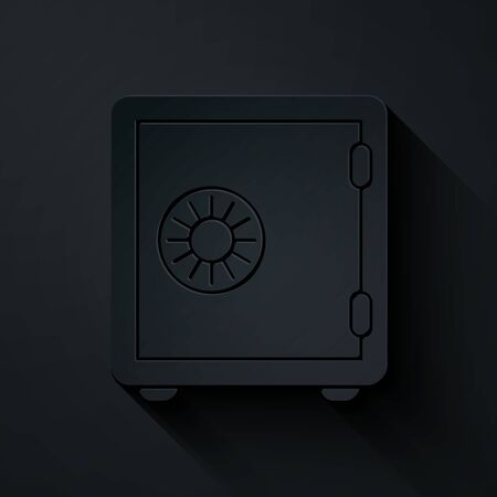 Paper cut Safe icon isolated on black background. The door safe a bank vault with a combination lock. Reliable Data Protection. Paper art style. Vector Illustration