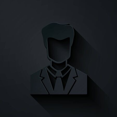 Paper cut User of man in business suit icon isolated on black background. Business avatar symbol - user profile icon. Male user sign. Paper art style. Vector Illustration