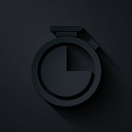 Paper cut Stopwatch icon isolated on black background. Time timer sign. Paper art style. Vector Illustration