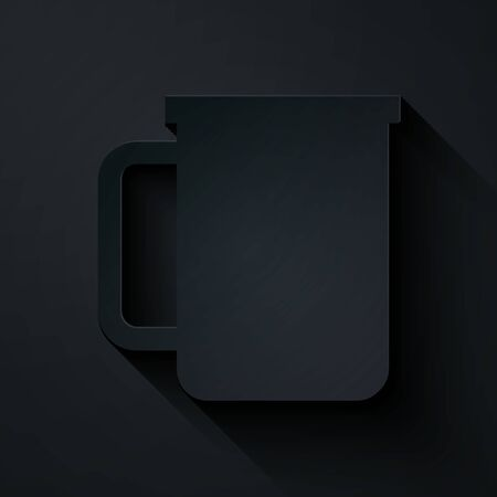 Paper cut Coffee cup flat icon isolated on black background. Tea cup. Hot drink coffee. Paper art style. Vector Illustration Ilustração