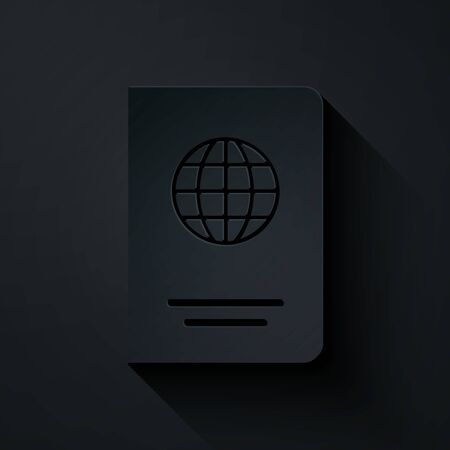 Paper cut Passport with biometric data icon isolated on black background. Identification Document. Paper art style. Vector Illustration  イラスト・ベクター素材
