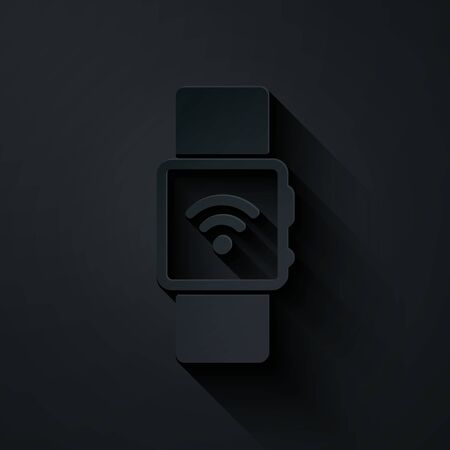 Paper cut Smartwatch with wireless symbol icon isolated on black background. Paper art style. Vector Illustration Stock fotó - 132326691