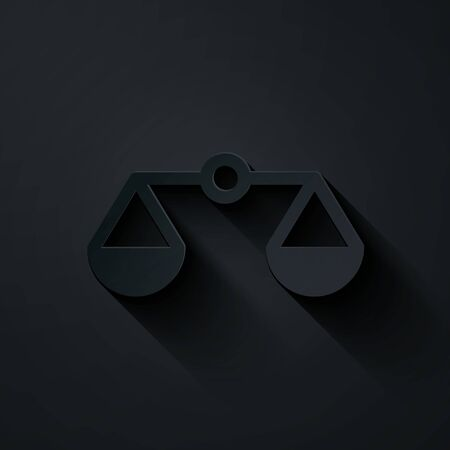 Paper cut Scales of justice icon isolated on black background. Court of law symbol. Balance scale sign. Paper art style. Vector Illustration Ilustração