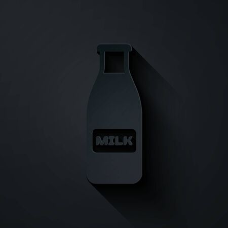 Paper cut Closed glass bottle with milk and cap icon isolated on black background. Paper art style. Vector Illustration