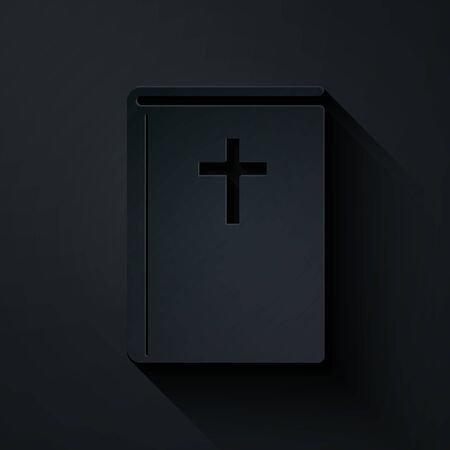 Paper cut Holy bible book icon isolated on black background. Paper art style. Vector Illustration 向量圖像