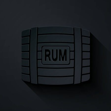 Paper cut Wooden barrel with rum icon isolated on black background. Paper art style. Vector Illustration Çizim