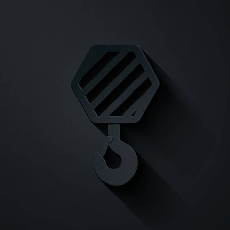 Paper cut Industrial hook icon isolated on black background. Crane hook icon. Paper art style. Vector Illustration Illusztráció