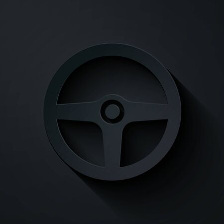 Paper cut Steering wheel icon isolated on black background. Car wheel icon. Paper art style. Vector Illustration