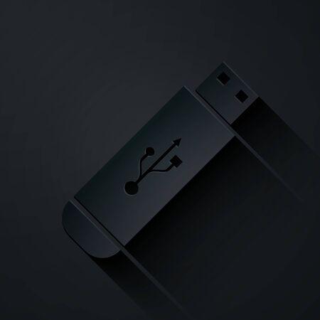 Icône de lecteur flash USB découpée en papier isolé sur fond noir. Style d'art du papier. Illustration vectorielle