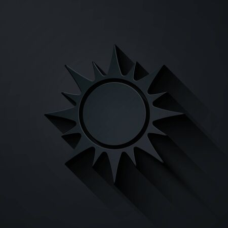 Paper cut Sun icon isolated on black background. Paper art style. Vector Illustration