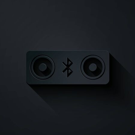 Paper cut Bluetooth speakers icon isolated on black background. Bluetooth stereo speaker. Paper art style. Vector Illustration