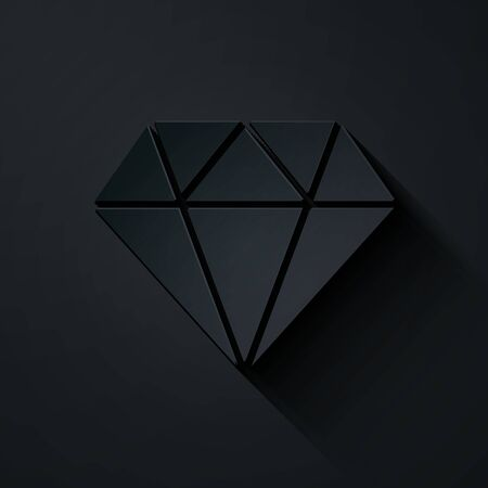 Paper cut Diamond icon isolated on black background. Jewelry symbol. Gem stone. Paper art style. Vector Illustration