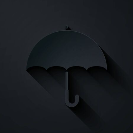 Paper cut Umbrella icon isolated on black background. Paper art style. Vector Illustration