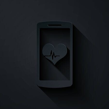 Paper cut Smartphone with heart rate monitor function icon isolated on black background. Paper art style. Vector Illustration Illusztráció