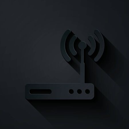 Paper cut Router and wi-fi signal symbol icon isolated on black background. Wireless ethernet modem router. Computer technology internet. Paper art style. Vector Illustration