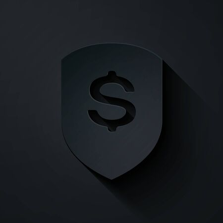 Paper cut Shield and dollar icon isolated on black background. Security shield protection. Money security concept. Paper art style. Vector Illustration