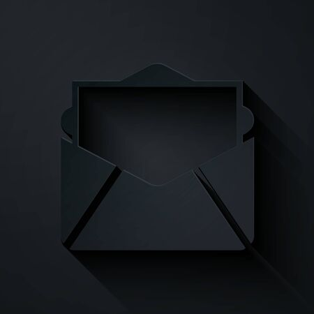 Paper cut Mail and e-mail icon isolated on black background. Envelope symbol e-mail. Email message sign. Paper art style. Vector Illustration