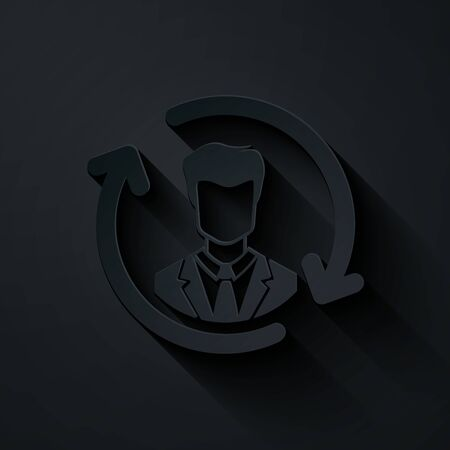 Paper cut Human resources icon isolated on black background. Concept of human resources management, professional staff research, head hunter job. Paper art style. Vector Illustration