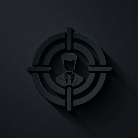 Paper cut Head hunting concept icon isolated on black background. Business target or Employment sign. Human resource and recruitment for business. Paper art style. Vector Illustration Çizim