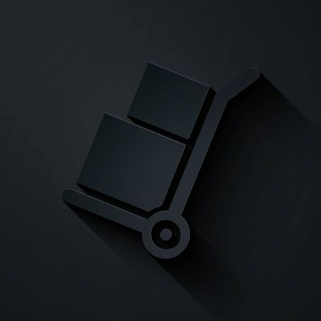 Paper cut Hand truck and boxes icon isolated on black background. Dolly symbol. Paper art style. Vector Illustration