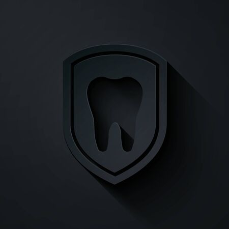 Paper cut Dental protection icon isolated on black background. Tooth on shield logo icon. Paper art style. Vector Illustration