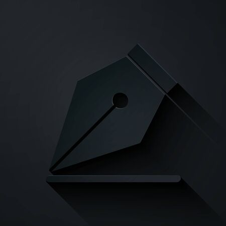 Paper cut Fountain pen nib icon isolated on black background. Pen tool sign. Paper art style. Vector Illustration Çizim