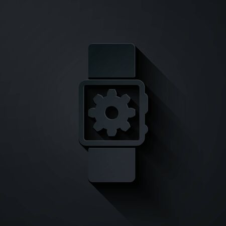 Paper cut Smartwatch setting icon isolated on black background. Smart watch settings. Paper art style. Vector Illustration