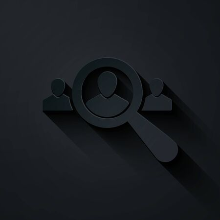 Paper cut Magnifying glass for search a people icon isolated on black background. Recruitment or selection concept. Search for employees and job. Paper art style. Vector Illustration Ilustração