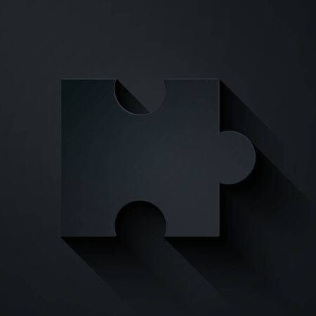Paper cut Piece of puzzle icon isolated on black background. Modern flat, business, marketing, finance, internet concept. Paper art style. Vector Illustration