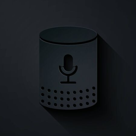Paper cut Voice assistant icon isolated on black background. Voice control user interface smart speaker. Paper art style. Vector Illustration Illusztráció