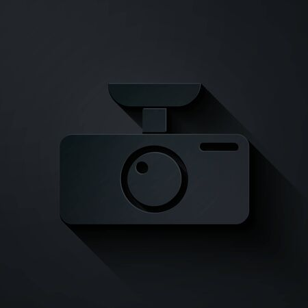 Paper cut Car DVR icon isolated on black background. Car digital video recorder icon. Paper art style. Vector Illustration Illustration