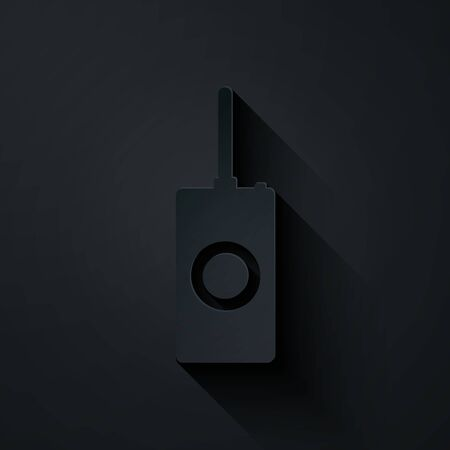 Paper cut Remote control icon isolated on black background. Paper art style. Vector Illustration