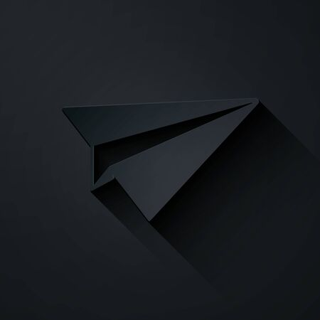 Paper cut Paper plane icon isolated on black background. Paper airplane icon. Aircraft sign. Paper art style. Vector Illustration