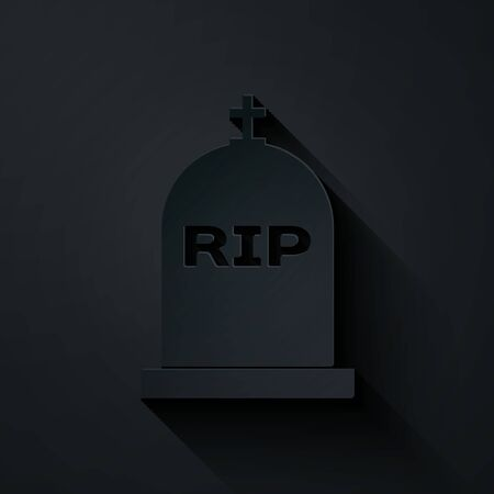 Paper cut Tombstone with RIP written on it icon isolated on black background. Grave icon. Paper art style. Vector Illustration Çizim