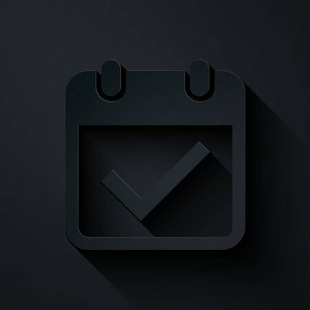 Paper cut Calendar with check mark icon isolated on black background. Paper art style. Vector Illustration