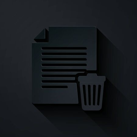 Paper cut Delete file document icon isolated on black background. Paper sheet with recycle bin sign. Rejected document icon. Cross on paper. Paper art style. Vector Illustration