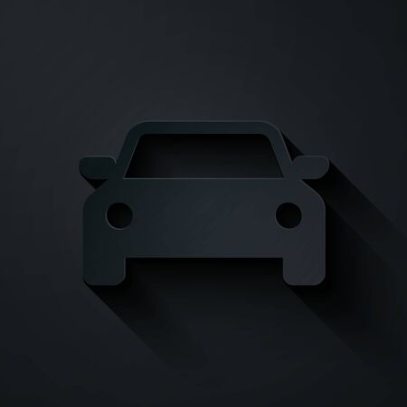 Paper cut Car icon isolated on black background. Paper art style. Vector Illustration