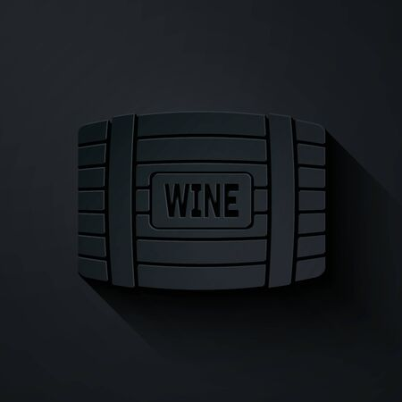 Paper cut Wooden barrel for wine icon isolated on black background. Paper art style. Vector Illustration