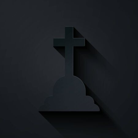 Paper cut Tombstone with cross icon isolated on black background. Grave icon. Paper art style. Vector Illustration